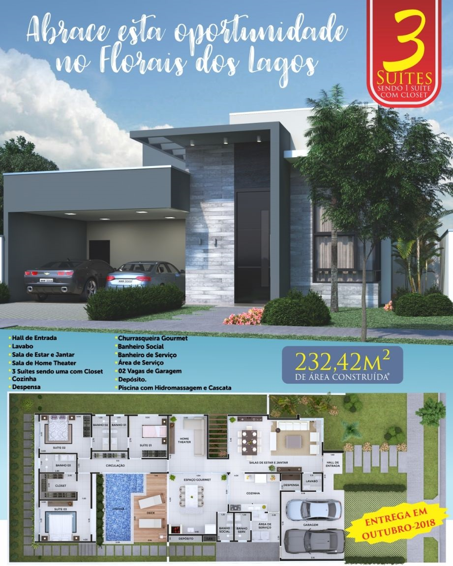 Casa Cond. Fechado  com 3 quartos sendo 3 Suítes no Condomínio Residencial Florais dos Lagos, Cuiabá  - MT